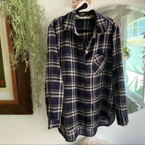 Oversized Button Up Flannel Shirt